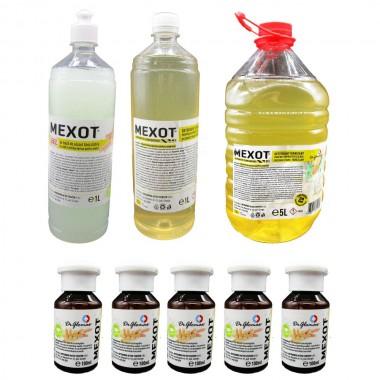 Pachet solutii dezinfectante, Mexot - Gel cu alcool  1L+5 buc. 100ml, Mexot - Solutie Concentrata pentru Suprafete, 1L+5L