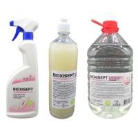 Pachet antiseptic, Bioxisept Gel Dezinfectant pentru maini 1l, Bioxisept dezinfectant pentru maini, fara clatire 750ml si 5L(pet)