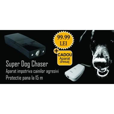 Dispozitiv portabil impotriva cainilor (12 mp) Pestmaster Super dogchaser + Aparat portabil cu ultrasunete pentru dresarea cainilor domestici (15 mp) Pestmaster AG015